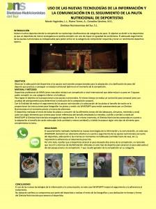 Poster USO DE LAS NUEVAS TECNOLOGÍAS DE LA INFORMACIÓN Y LA COMUNICACIÓN EN EL SEGUIMIENTO DE LA PAUTA NUTRICIONAL DE DEPORTISTAS